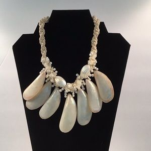 Vintage White Celluloid Silk Rope Shell Necklace